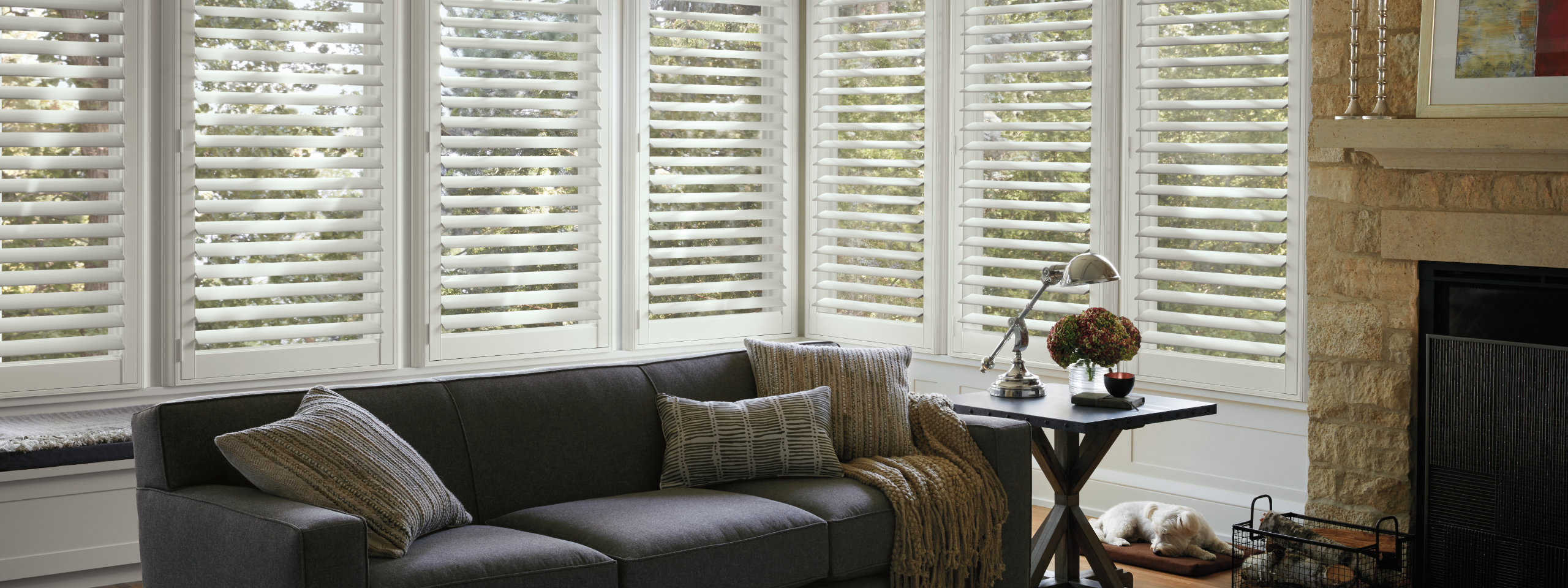 Plantation Shutters in Family Room