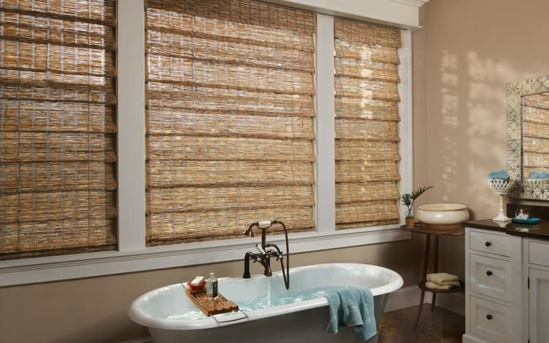 Woven Wood Shades in the Bathroom