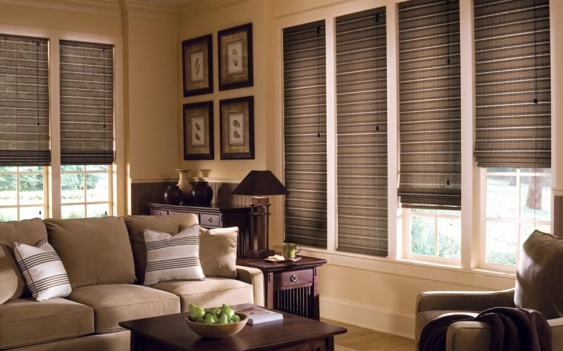 Woven Wood Shades in the Living Room